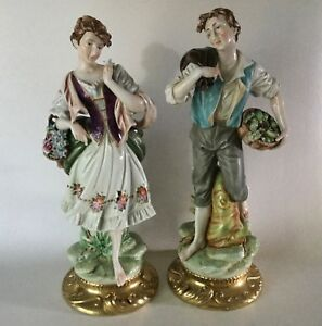 Andrea Porcelain 14 1 2 Pastoral Pair Man Woman 6484 Peasant Figurines