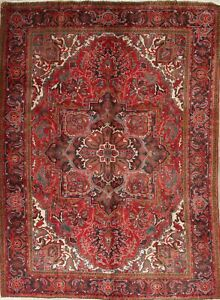 One Of A Kind Geometric Persian Oriental Heriz Hand Knotted 7 X10 Wool Area Rug