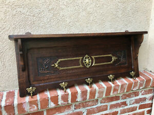 Antique French Carved Dark Oak Wall Shelf Coat Hat Rack Brass Kitchen Hall Foyer