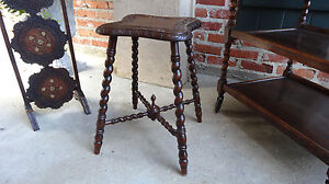 Tall Antique French Carved Oak Barley Twist Bench Stool Victorian Stand Table
