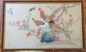 Antique Silk Embroidered Japanese Bird Rooster Yokohama Chickens Peacocks Panel