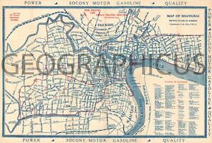 1920s Navy Y M C A City Map Or Plan Of Shanghai China