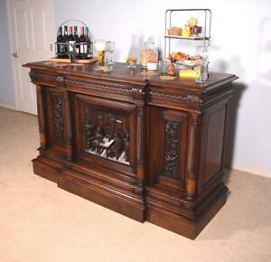 Antique French Renaissance Revival Pub Bar Sideboard In Walnut