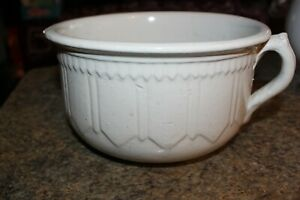 Porcelain Chamber Pot Color Is Ivory Raised Design 9 25 Wide 5 25 Tall