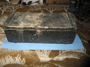 Very Old Wood Tool Box Original Paint Wing Nut Fasteners Auto Or Coach