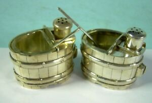 Unusual Pair Tub Sterling Silver Salt Cellar Pepper Glass Insert Spoon