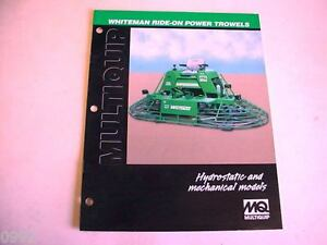 Whiteman Ride on Power Trowels 2000 8 Page Brochure