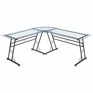 Poly And Bark Bridgeport Clear Glass And Black Steel L shaped Desk