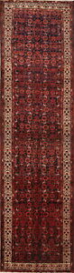 Vintage All Over Floral Hamedan Persian Hand Knotted 4x13 Wool Runner Rug