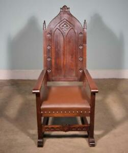 Antique Gothic Revival In Highly Carved Oak Throne Chair