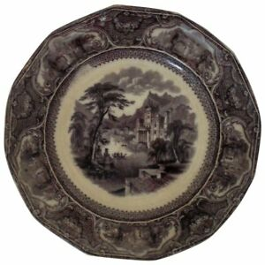 19th C Flow Mulberry Serving Plate W Walker Tavoy Ironstone Castle