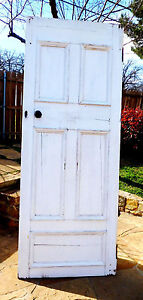 89 X 34 Antique 5 Panel Vtg Interior Inside Tall Door Solid Wood Old Hardware