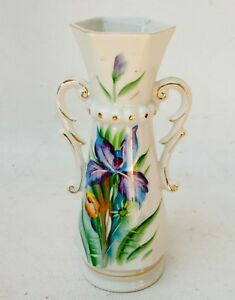 Antique Old Paris Style Hand Painted Floral Porcelain Vase