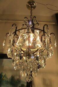 Antique Vintage French Basket Style Crystal Chandelier Light Lamp 1960 S 12 In