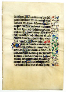 Illuminated Manuscript Book Of Hours Leaf C 1450 Gold Floral Border France