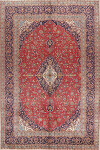Antique Traditional Floral Kaashaan Persian Oriental Area Rug 9x14 Hand Knotted