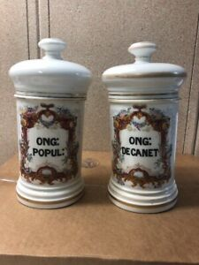 Large French Antique Porcelain Apothecary Pharmacy Jar 1800s Lot Of 2 Pair