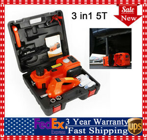 12v Dc 5 Ton Electric Hydraulic Floor Jack Lift Lifting Set With Impact Wrench