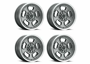 Set 4 15 Vision Muscle 148 Shift Satin Grey Wheels 15x7 5x4 5 7mm Classic Rims