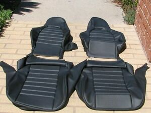 Porsche 911 912 Standard Seat Kit New Upholstery Black German Vinyl Beautiful