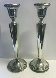Pair Of Arrowsmith Sterling Weighted Candlestick Holders 10 Tall