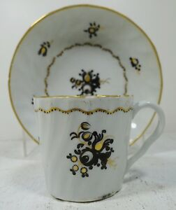 Vtt10 Antique 19th C Soft Paste Cup And Saucer Hand Painted European C 1840s