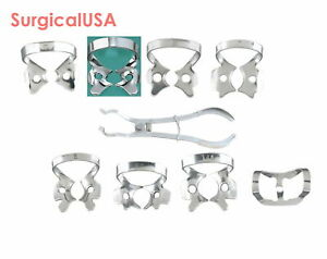 Rubber Dam Clamp Forceps Set Of 9 Dental Surgical Instruments