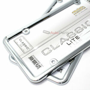 2 Classic Lite Plain Metal Chrome License Plate Tag Frames For Auto Car Truck