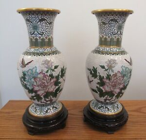 Stunning Pair 2 Large Vintage Ornate Cloisonn Enamel Vase Flowers Insects 15