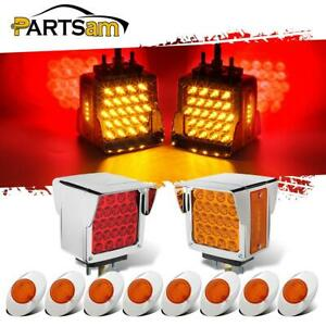 2x Bezel Visor 52led Pearl Pedestal Light Stop Turn Tail 8x 3 Led Marker Light