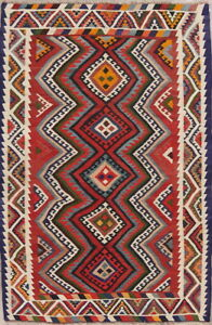 Hand Woven One Of A Kind Vintage Geometric Kilim Abadeh Oriental Area Rug 5 X8