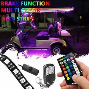 6pcs Golf Cart Underbody Glow Led Lighting Kit 18 color Accent Neon Strip