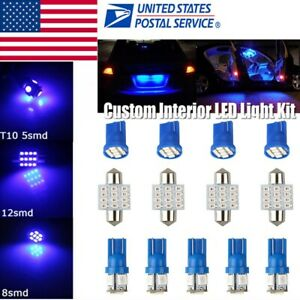 13x Blue Led Car Light Interior Package Kit For Dome License Plate Lamp Bulb