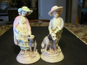 Pair Of Old Italian Victorian Dressed Boy Girl With Dogs Figurine Statues