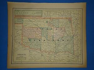 Vintage 1891 Indian Territory Map Old Antique Original Atlas Map 40219