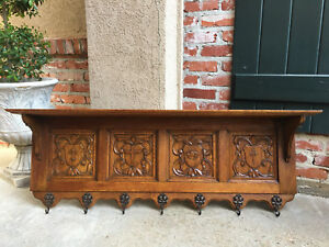 Antique French Country Carved Oak Wall Shelf Coat Hat Plate Rack Gothic Brass