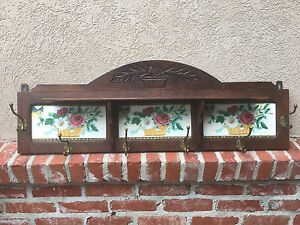 Antique French Carved Oak Wall Shelf Coat Hat Rack Majolica Tile Kitchen