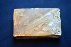Vintage Mother Of Pearl Polished Metal Coin Purse