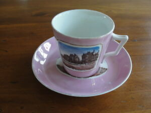 Germany Pink Lusterware Souvenir Cup And Saucer A Present From Leeds