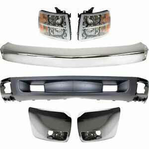 Bumper Kit For 2007 2008 Silverado 1500 Pickup Front With Chrome Bumper End 6pc