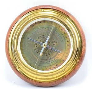 Nautical Vintage Antique Style Brass Wood Maritime Navigational Desk Compass