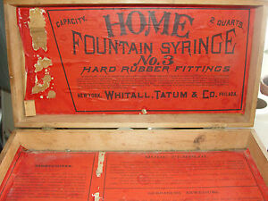Home Fountain Syringe Whitall Tatum Co Advertising Wooden Medical Equipement Box