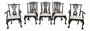 L47236ec Set Of 8 Stickley Ball Claw Chippendale Mahogany Dining Chairs