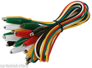Test Leads Set Jumper Wire With Alligator Clips 10 pc multi Color Set