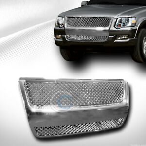 Fits 07 10 Ford Explorer Sport Trac Chrome Mesh Front Hood Bumper Grill Grille