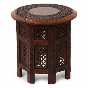 Wooden Rosewood Table With Intricate Handmade Brass Inlay Work On