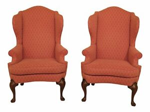 47249ec Pair Drexel Heritage Cherry Wing Back Chairs