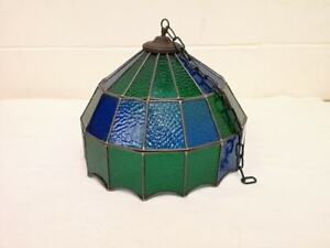 Large Antique Vintage Stained Glass Light Shade Wonderful Bohemian Piece