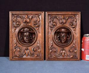Pair Of French Antique Deep Carved Architectural Panels Doors Solid Oak W Faces