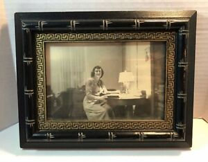 Antique Lacquered Black Gold Gilded Ornate Wooden Picture Frame Late 1800s